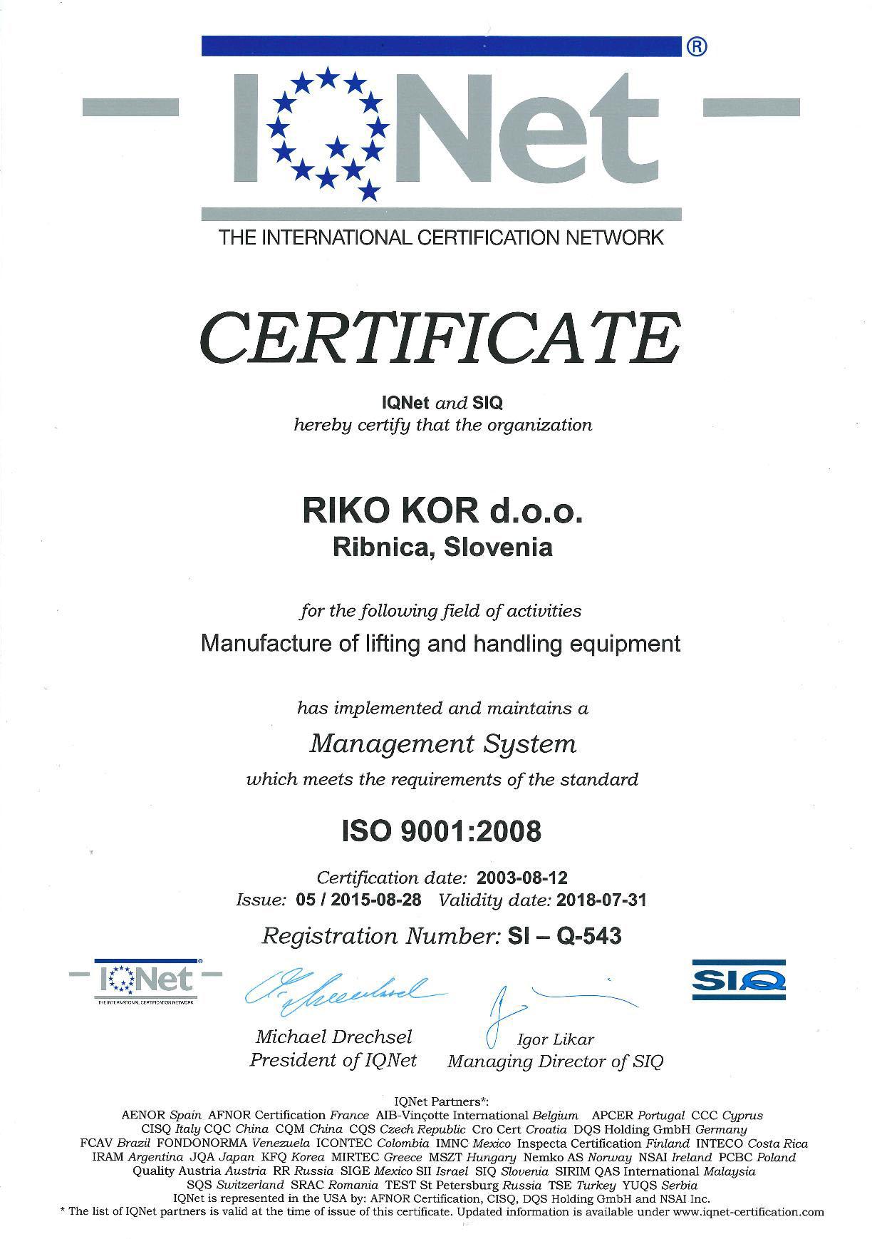 Certificates riko kor extended herstellerqualifikation zum schweien von stahlbau nach din 18800 72002 09 klasse e s235 s960 ql en10137 2 welding certificate awarded xflitez Images